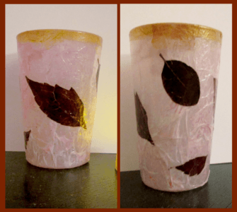 candle holder - water glasses decoupaged with dried leaves