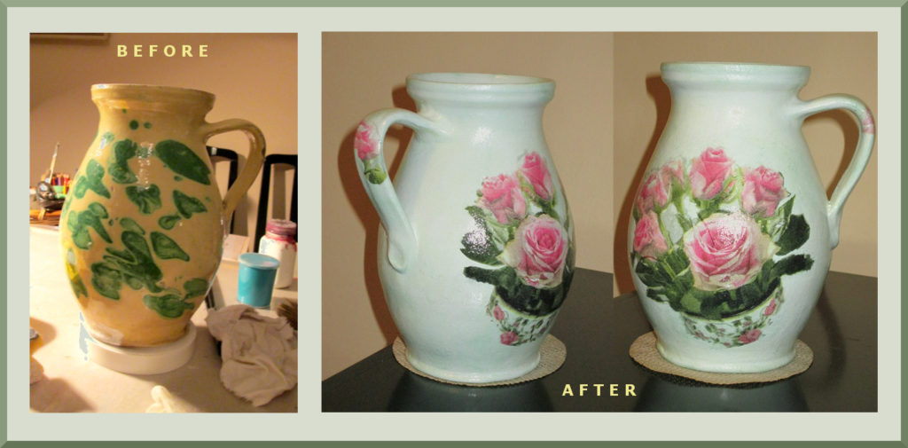 recycled old earthen jar decooupaged with napkin
