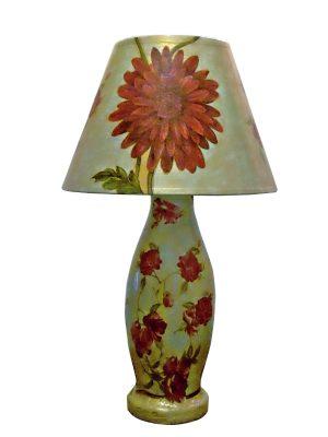 OOAK Handmade Decoupaged Table Lamp created of papier mache clay