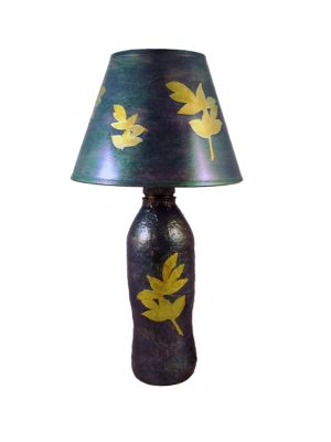 DIY upcycled table lamp using plastic bottles and waste paper