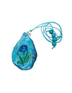 Handmade Necklace Pendant Created of Papier/Paper Mache Clay